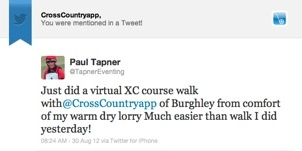 Paul Tapner used CrossCountry App at Burghley